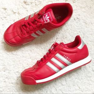 Adidas: Red and Silver Samoa Sneakers Size 9.5